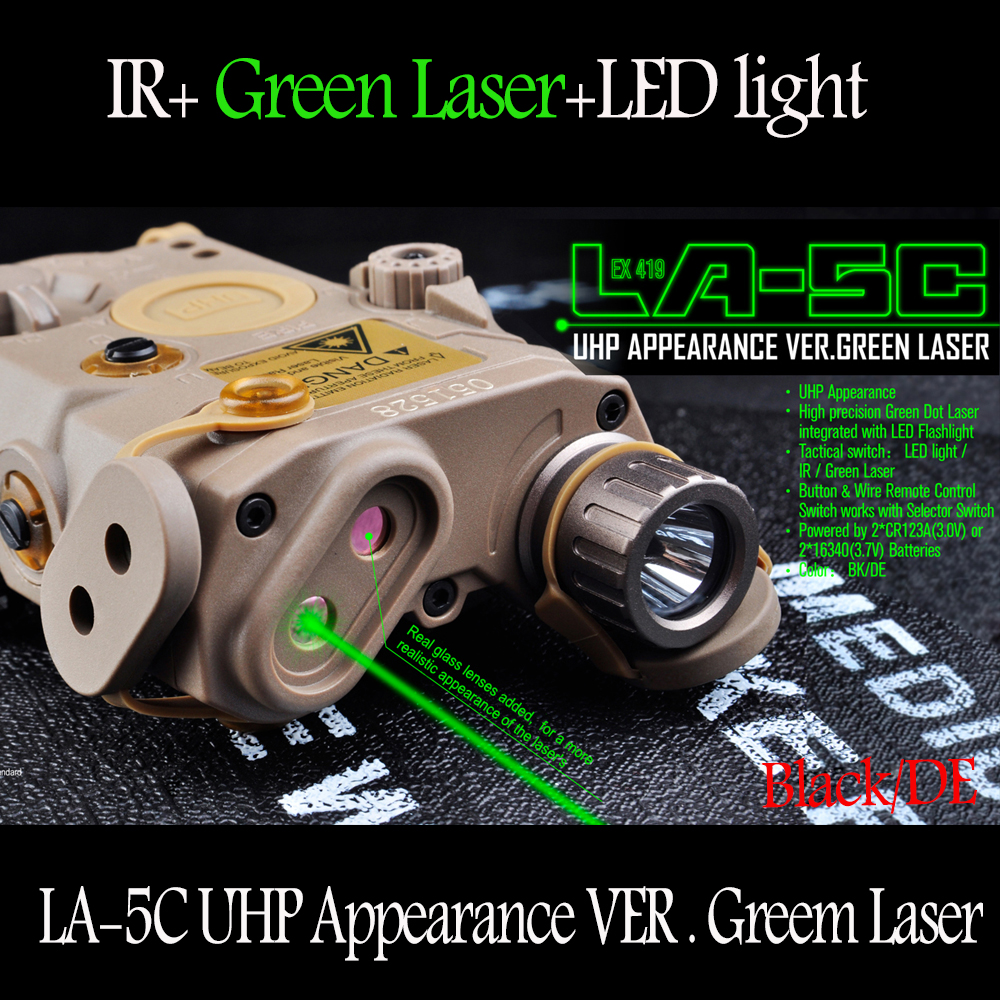 Elemento Airsoft PEQ LA-5C UHP Aspetto Laser Verde E Torcia Elettrica di Caccia Arma luci EX419