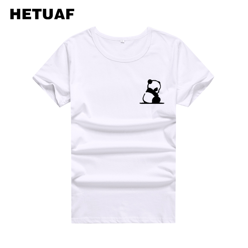 HETUAF Kawaii Panda Pocket Graphic Tees Women Tshirt 2018 Korean Fashion T-shirt Women Tops Harajuku Cartoon Camisetas Mujer