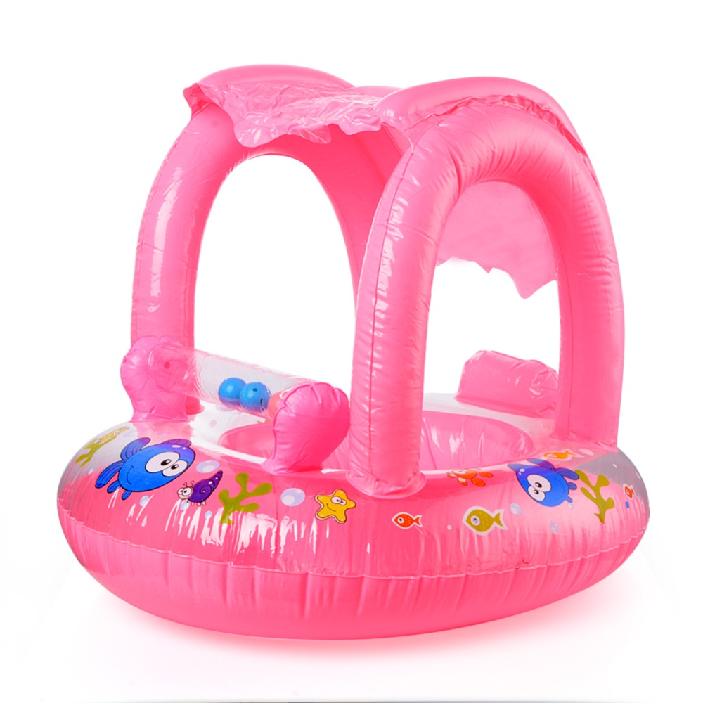 Baby Inflatable Float Swim Seat Boat With Sun Shelter Summer Kids Ride on Swim Ring Infant Water Play Swim Pool Accessories