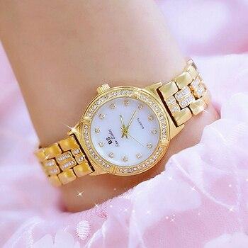 2017 Gold Watch Women Watches Luxury Brand New Geneva Ladies Quartz Rhinestone wrist watches Clock Female Dress Relogio Feminino дамски часовници розово злато