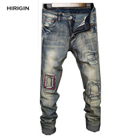 2017 New Arrival STOCK Men S Skinny Runway Straight Zipper Denim Hole Pants Destroyed Ripped Jeans
