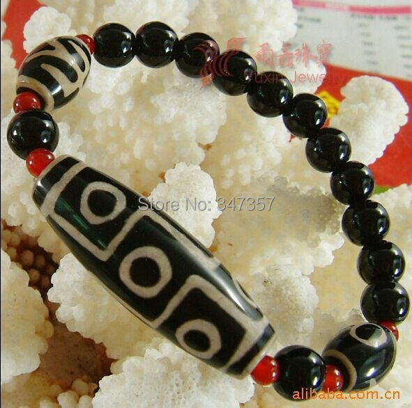 2017 New Arrival Tibet Dzi Bracelet  Nine Eyes Old  Dzi Brand-New Condition With Red Stone Spacers