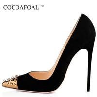 Cocoafoal امرأة رصع كعب حذاء مثير خنجر زائد حجم 33 43 أحذية برشام أشار تو الأزرق الأحمر الأخضر الزفاف عيد مضخات