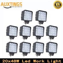 20 piezas, envío gratis, todoterreno, 4x4, 48W, luz led de trabajo para camión, 12V, 4x4, luces de conducción, focos para tractor, luces todoterreno