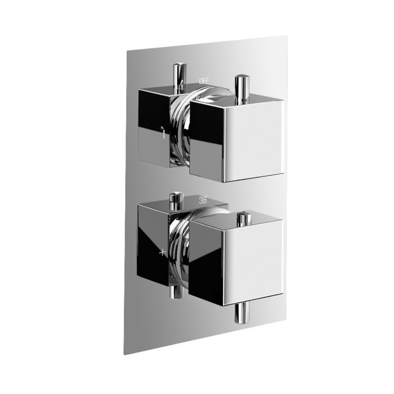 high flow brass concealed shower valve mixer tap faucet 2 dial 2 way square