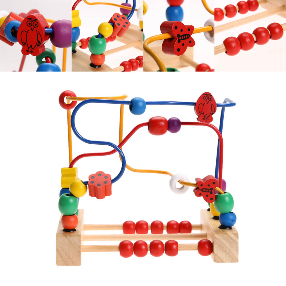 Colorful Wooden Toy Kids Classic Wooden Bead Maze Child Beads Educational Toy Rollercoaster Maze Puzzle Toys