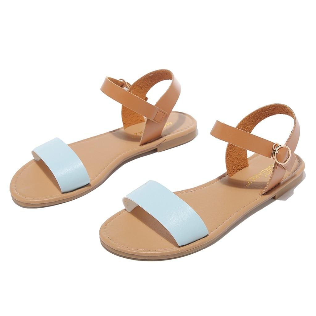 HTB1SdXwQzTpK1RjSZKPq6y3UpXaO SAGACE Women's Sandals Solid Color PU Leather Sandals Women Fashion Style Flat Summer Women Shoes Women Shoes 2019 Sandals 41018