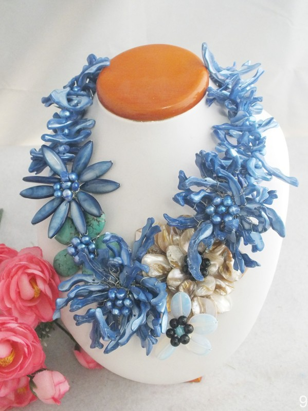 Free Shipping W 4810 Wedding Jewelry Blue Shell Flower Necklace New Design