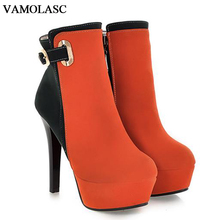 VAMOLASC New Women Autumn Winter Faux Suede Ankle Boots Sexy Zipper Thin High Heel Boots Platform Women Shoes Plus Size 34-43