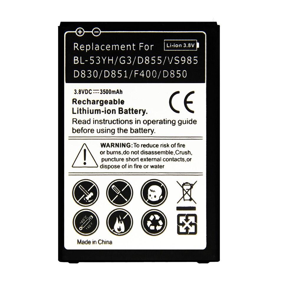 Высокое качество Замена аккумулятора BL53Y BL-53YH Аккумулятор для <font><b>LG</b></font> <font><b>G3</b></font> <font><b>D855</b></font> F400S/K/l 53YF D830 D850 VS985 d850 аккумулятор 2017 Новый