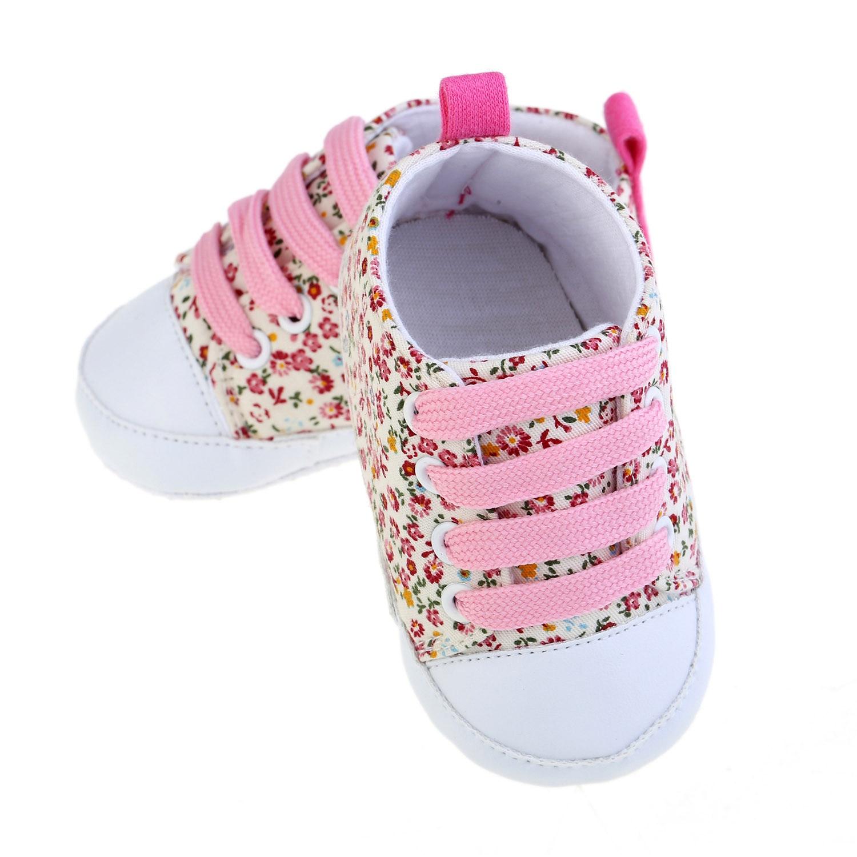Toddler Soft Soled Anti Slip Baby Canvas Floral Shoes  Baby Boy Girls Anti Slip Prewalker Sneakers 0 18M