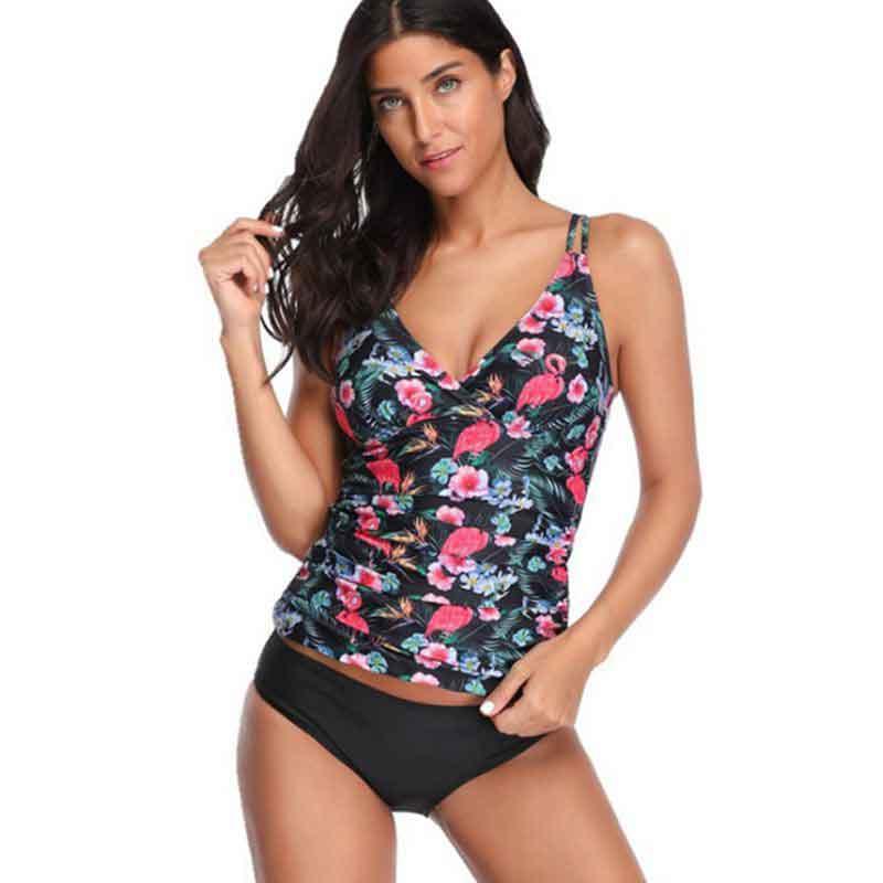 2019 nouveau Floral deux pièces débardeur tankini maillot de bain Bikini grande taille femmes maillots de bain Sport Push Up ventre maillot de bain Shorts