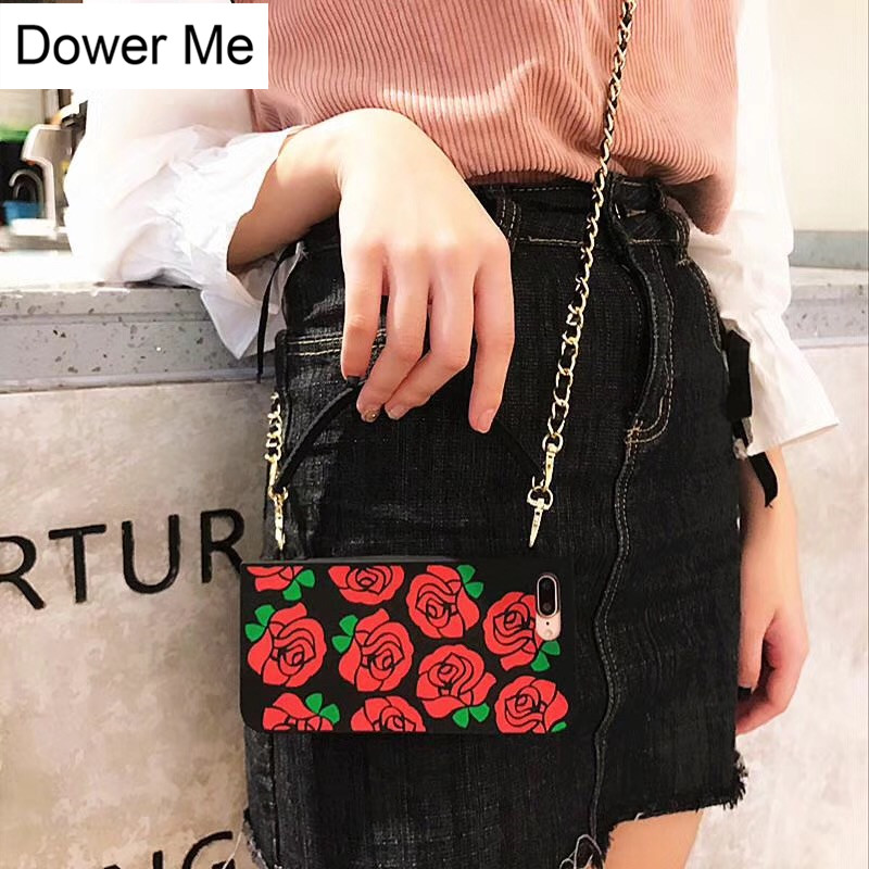 Dower Me Luxury Fashion Women Handbag Beautiful Red Rose Flower Soft  Silicone Chain Phone Case Cover 0f34057bc7be