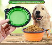 Portable outdoor pet folding bowl dog silicone food eco-friendly cat and utility