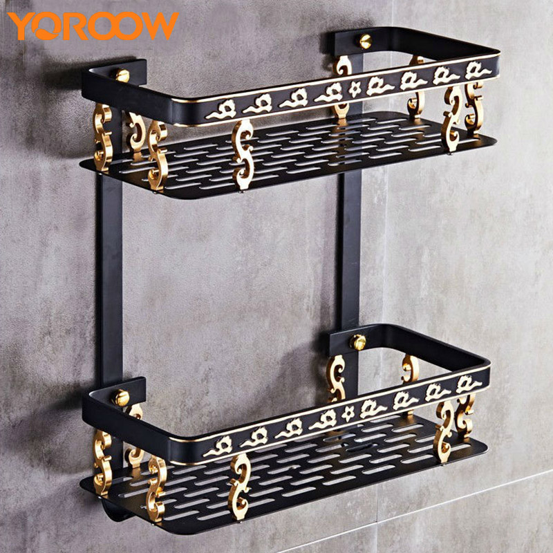 Bathroom Shelves Wall Mounted Black Shelf Storage Rack Shower Basket Shelving Hardware Hooks Clothes Organizer System SG0010
