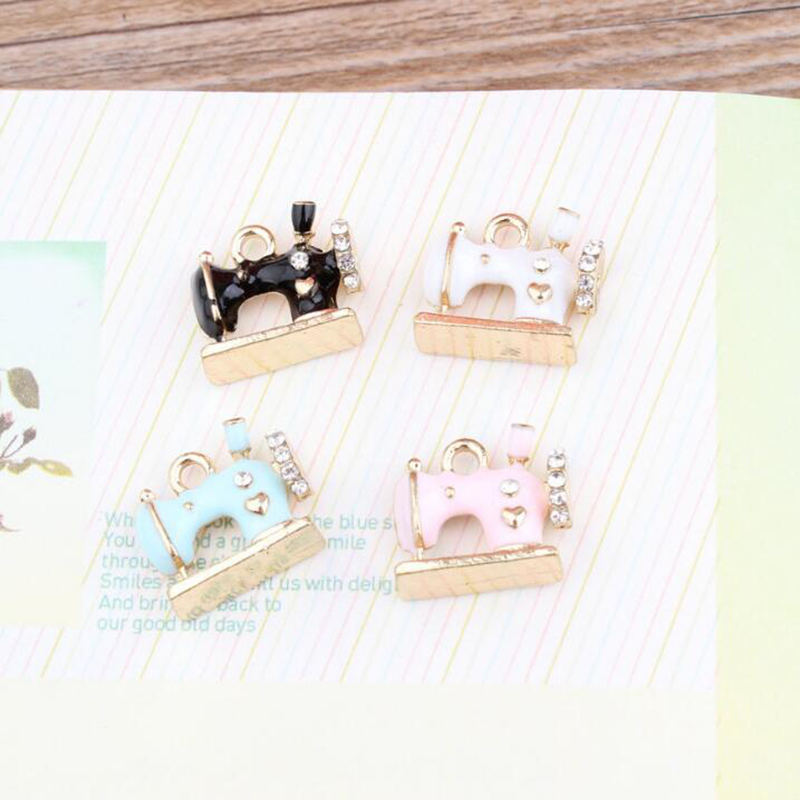 10pc Metal Sewing Machine Enamel Charm With Artificial Drill For Jewelry Making  Drop Oil Pendant Fit DIY Earring Bracelet Craft