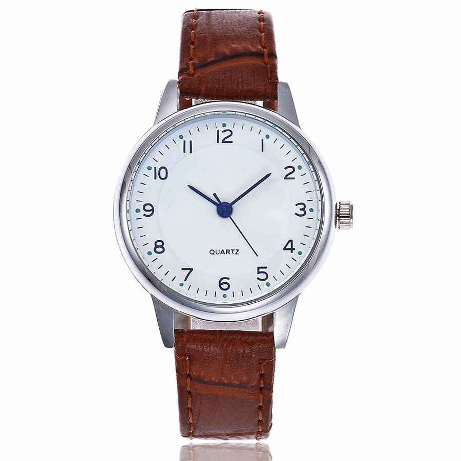 купить Dropshipping Women Simple Number Dial Watch Casual Fashion Women's Leather Blue Glass Quartz Wristwatches Gift Relogio Feminino по цене 178.81 рублей
