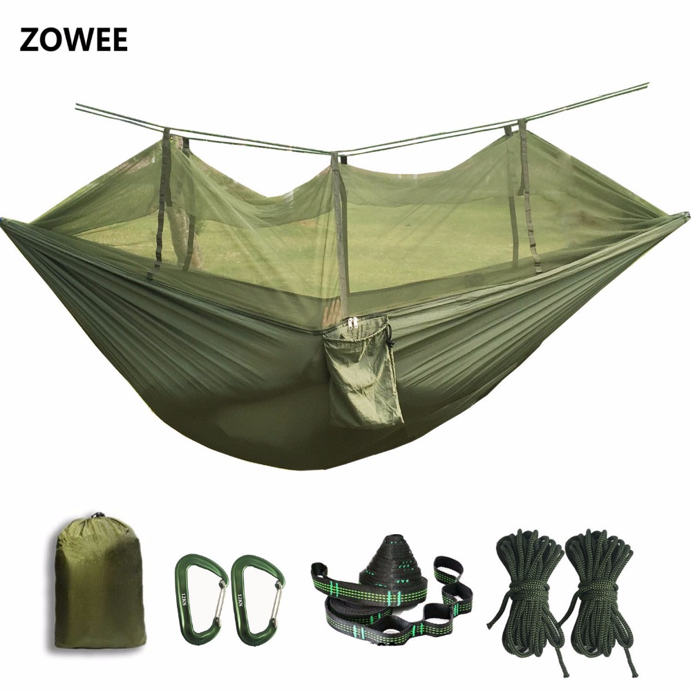 Portable Hammock Tent High Strength Parachute Fabric Hanging Bed Sleeping With Mosquito Net For Outdoor Camping Travel Survival sgodde portable outdoor travel camping tent folding nylon hammock bed mosquito net nylon 210t fabric for travel kits camping page 3