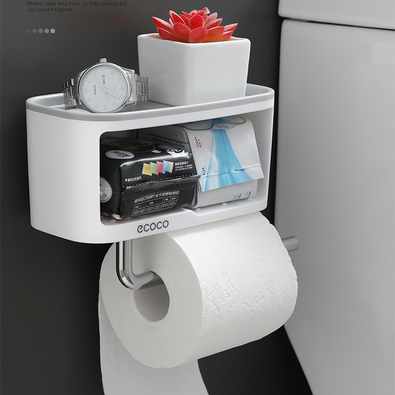 Multifunction Toilet Paper Holder Creative Double Layer Toilet Roll Holder For Kitchen Bathroom Shelf 2019 Newest Paper Holder