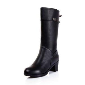 Image 2 - Winter Boots Wool Fur Inside Warm Shoes Women High Heels Genuine Leather Shoes Handmade Snow Boots Footwear Botas