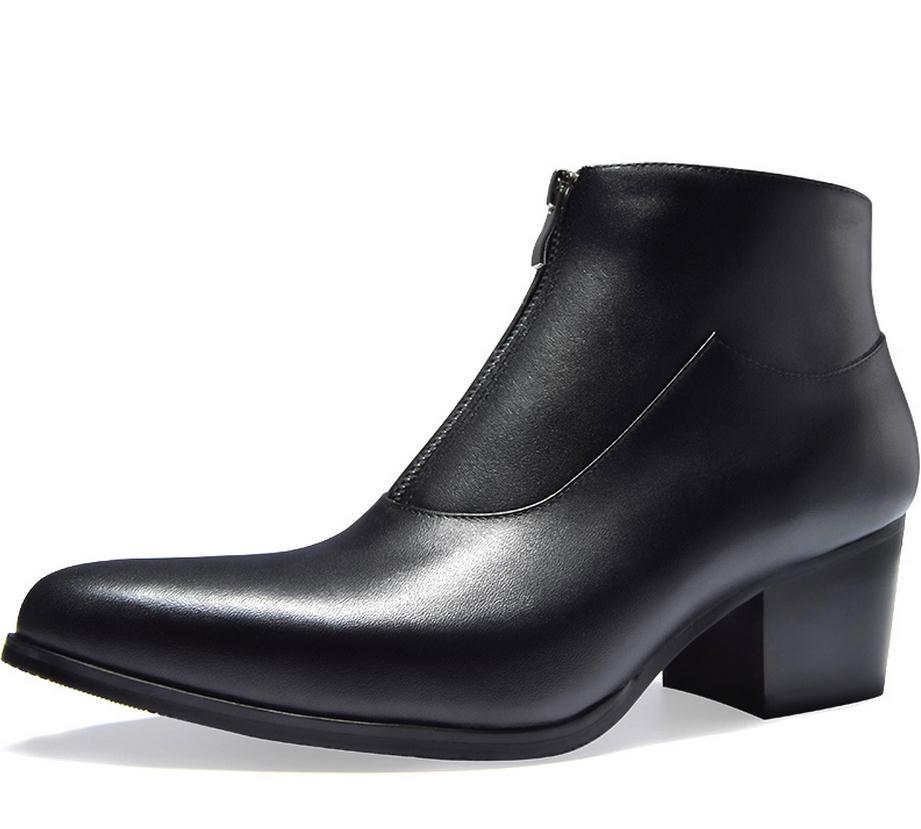 9a450be562aae Aliexpress.com  Comprar Otoño Invierno moda hombres cuero genuino botas de  tacón alto negro blanco Zapatos de vestir de negocios hombres carrera  trabajo ...