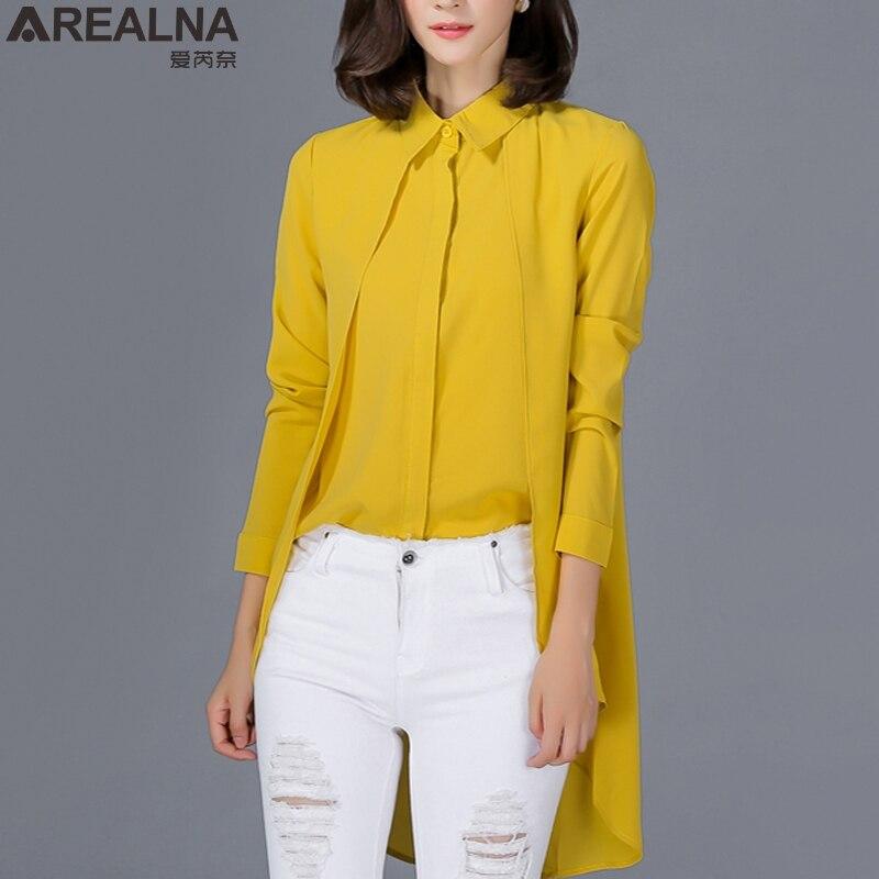 AREALNA 2018 spring korean Kimono Chiffon   Blouse     Shirt   Women Tops Clothing Long Sleeve Fake Two Piece tunic women's   shirt   Blusas