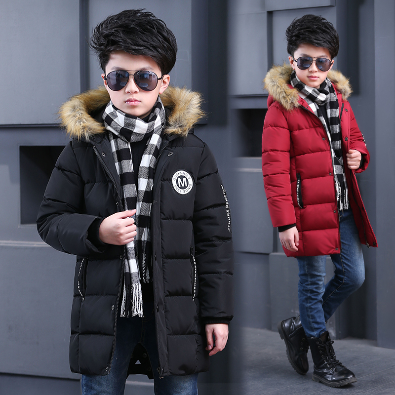 FYH Winter Kids Clothing Boys Fur Hooded Parka School Children's Winter Jackets Kids Boys Down Coat Warm Thick Cotton Padded wendywu new arrival kids parka fleece children thickteenager outwear boys winter jackets warm hooded cotton padded winter coat b