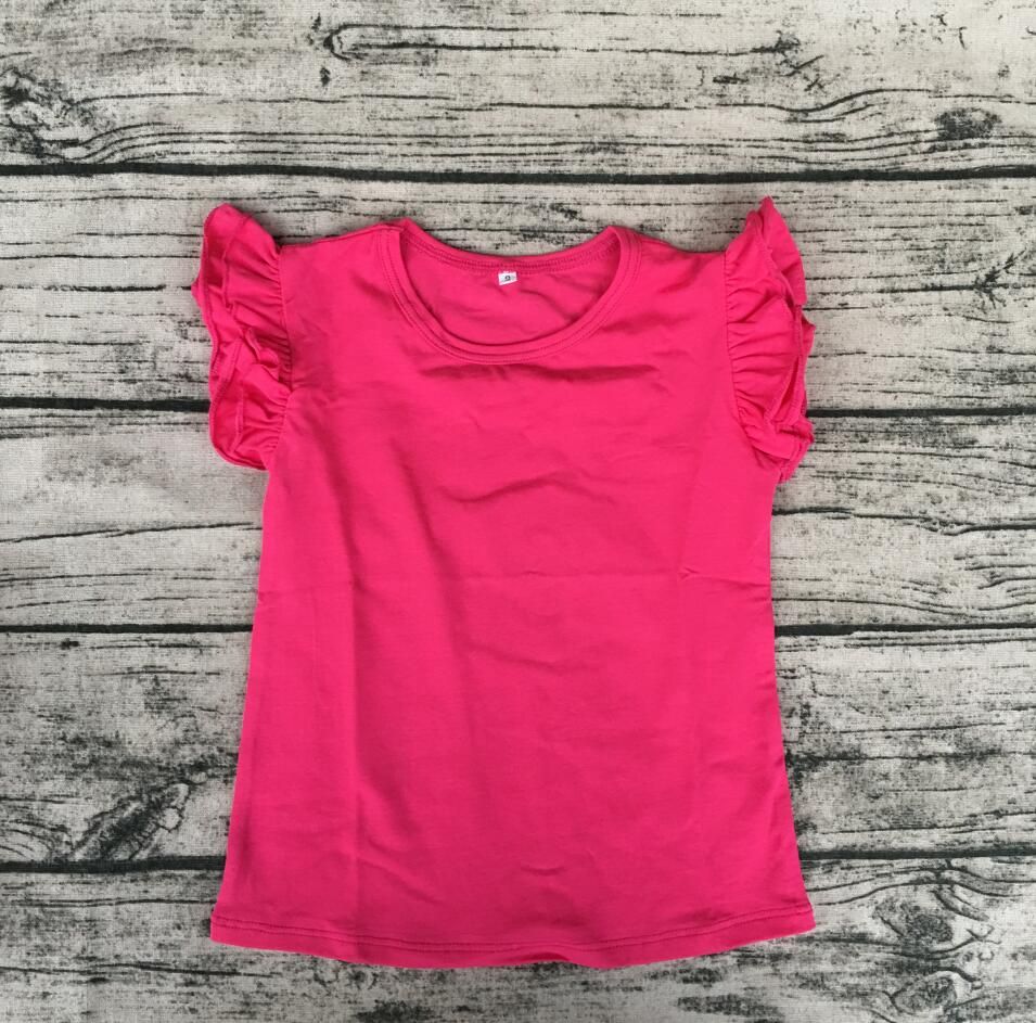 Boutique Child Cotton Tee Shirts Baby Girl Plain Top Blank