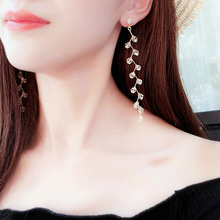 E0305 Fashion Beads Crystals Long Tassel Drop Earrings For Women Bend Branches Design Dangle Earrings Party Wedding Jewelry Gift