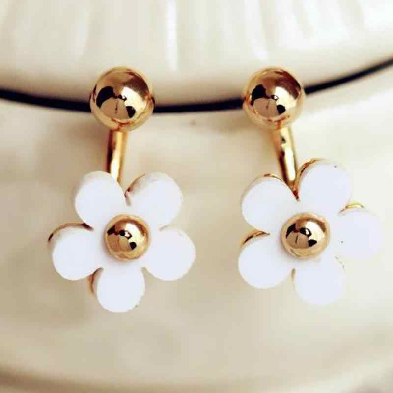 Anti Allergy Small Golden Flower With Five Petals After Hanging Earrings Fashion Star Earrings Jewelry Wholesale