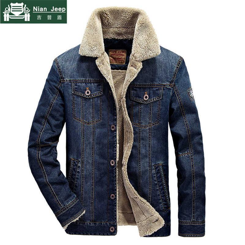 新 2018 デニムジャケット男性ブランドカジュアルジャケットファッションメンズジーンズジャケット厚く暖かい冬生き抜く男性のカウボーイの服 M-4XL