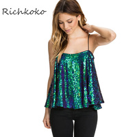 Richkoko Sexy Women Camis Green Black Gold Sequin Ruffles Off Shoulder Tank Streetwear Sleeveless Slash Neck