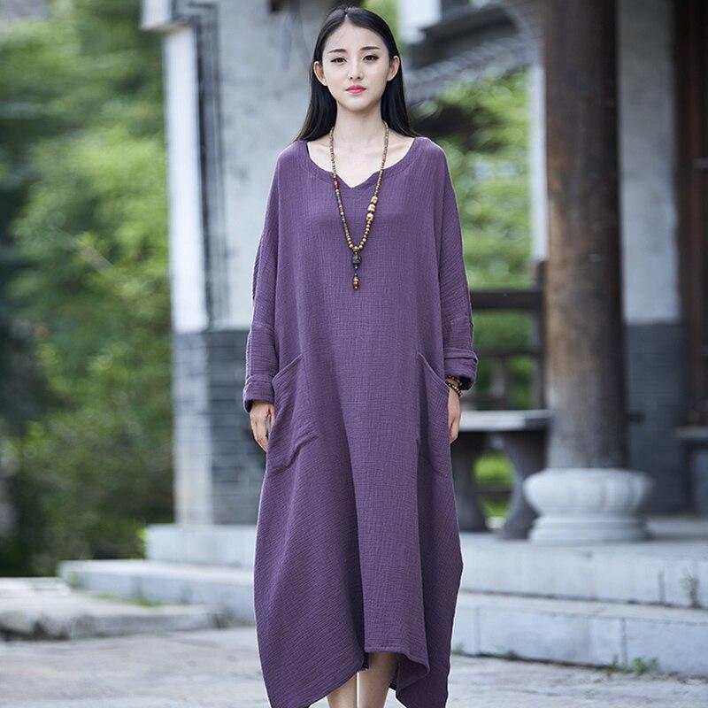 Algodão sólida manga Longa Mulheres Vestido Longo Plus Size Casual Oversized Zen Robe Femme Vestido Original Solta Maxi Vestido de Outono b005