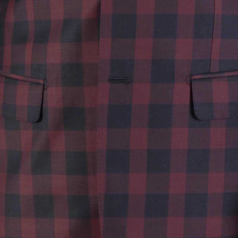 2018 新スタイルオーダーメイドの高品質 150's ウールダーク赤窓ガラスチェックのスーツ男性カジュアル結婚式のスーツ (ジャケット + パンツ)