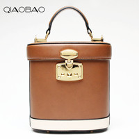 QIAOBAO Real Leather buckets package retro stereotypes medicine bags ladies handbags shoulder Messenger bag leather handbags