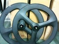 Бесплатная доставка колеса углерода 3 спицы 700c фиксированной зубчатых колес Велоспорт колея велосипед говорил Велосипедный Спорт дорога 3