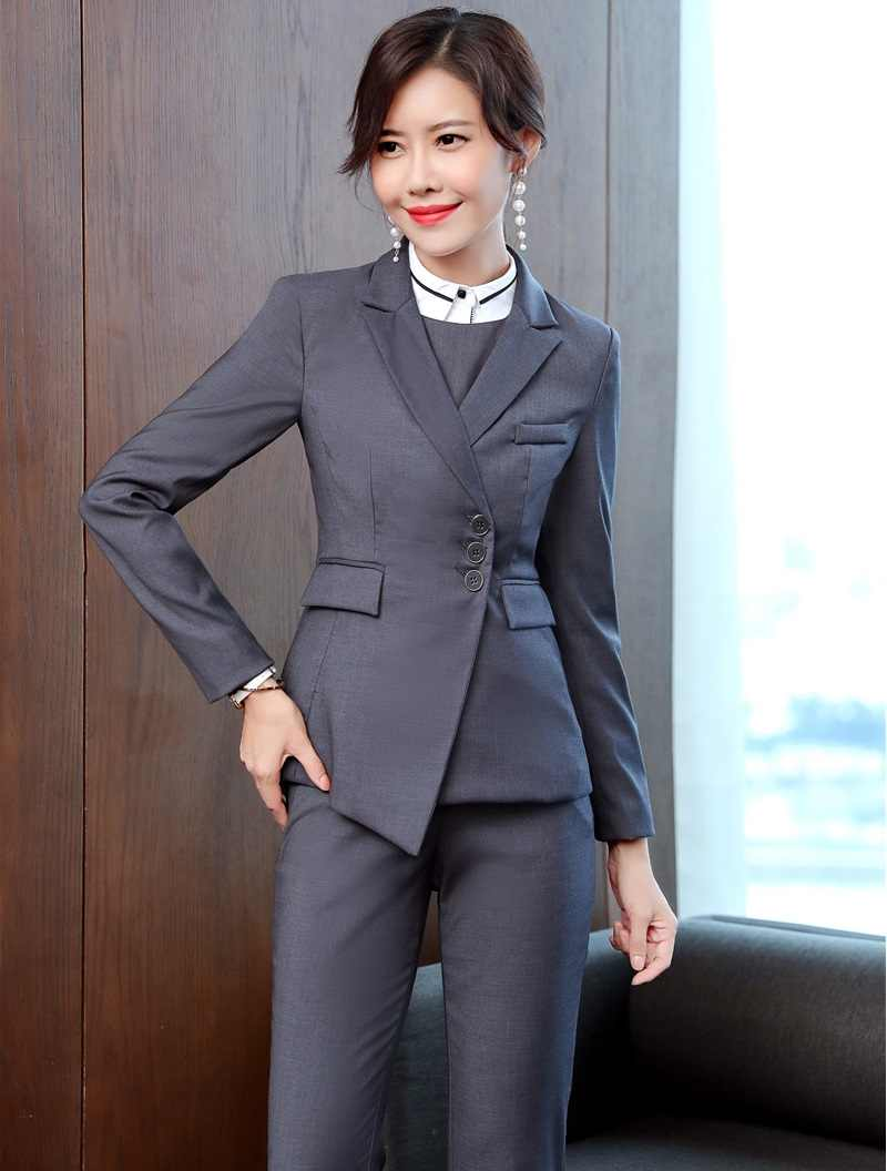 High Quality Fabric Formal Uniforms Designs Pantsuits for Women Office Work  Wear Business Blazers Female Pants 9e8f4ac7008b