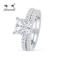 Silverwill sterling 925 silver big princess cut 2 ct Amore engagement ring sparkling diamand rings women wedding fine jewelry