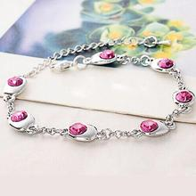 12pcs/lot Girls Waltz Of Happiness Style Wrist Chain Artificial Crystal Bangle Alloy Rhinestone Bracelet JBS111