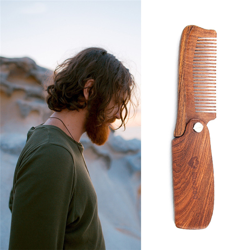 Portable Sandalwood Fine Tooth Pocket Folding Comb with PU Bags All Hair Types Beard Mustache Brush Wooden Combs ...