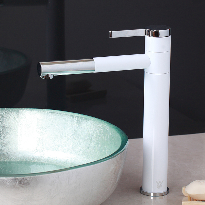 Bathroom Pull Out Faucet White Deck Mount Single Handle Wash Basin Pull Out Swivel Kitchen Tap
