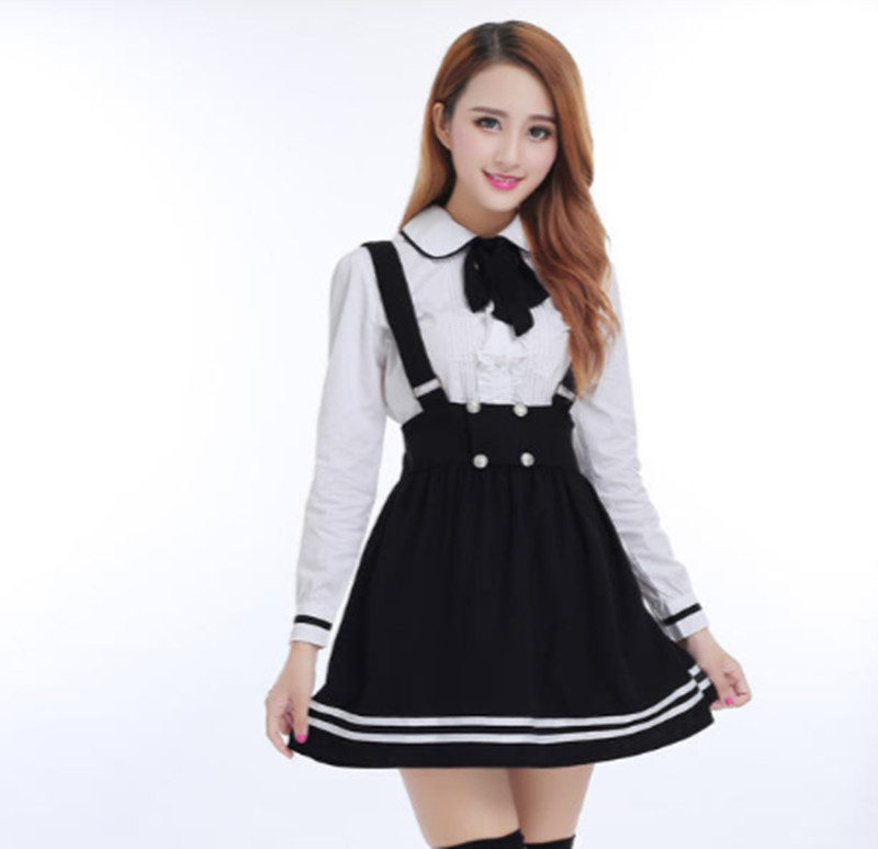 Japanese School Uniform For Girls Students Class Sweet Clothes Plus Size Navy Straps Skirt +White Shirt +Stocking 3 Pcs / Set