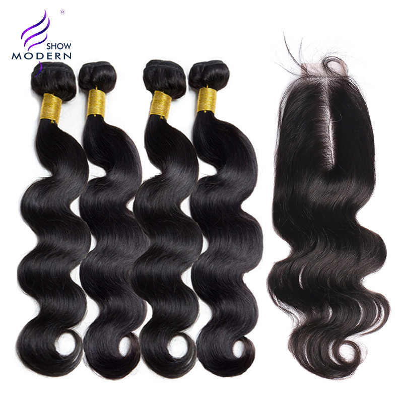 Brazilian Hair Body Wave Bundles With Closure 3 bundles Remy Hair Extension 2x6 lace Closure Human Hair Bundles With Closure