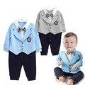 Джентльмен Детская Одежда Мальчика Пальто + Sriped Комбинезон Комплект Одежды Новорожденных Свадебный Костюм