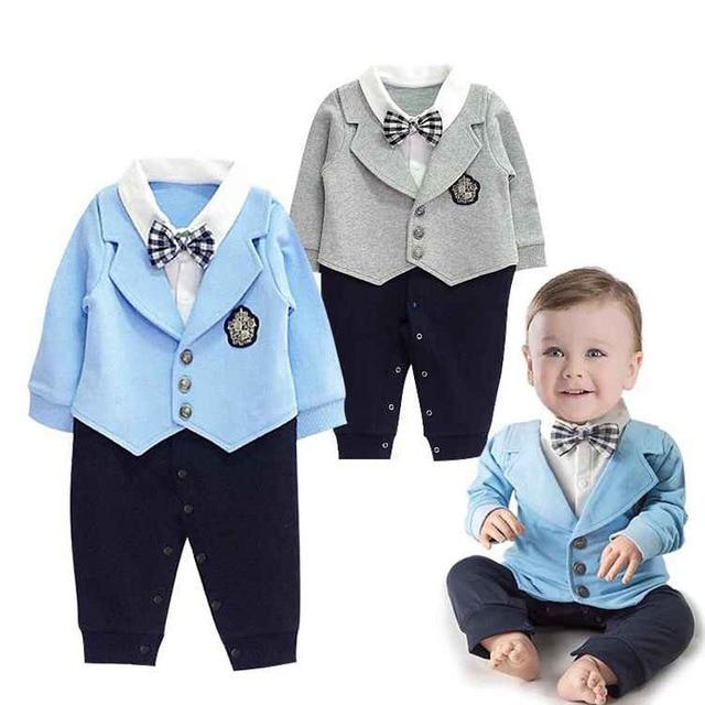 1b31f9f12b01d Gentleman Bébé Garçon Vêtements Manteau + Sriped Barboteuses Vêtements Set  Nouveau-Né Costume De Mariage