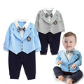 Gentleman Baby Boy Clothes Coat+ Sriped Rompers Clothing Set Newborn Wedding Suit