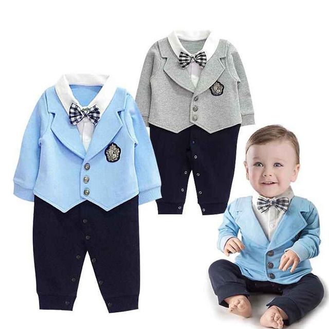 Gentleman Baby Boy Clothes Coat+ Sriped Rompers Clothing Set Newborn Wedding Suit