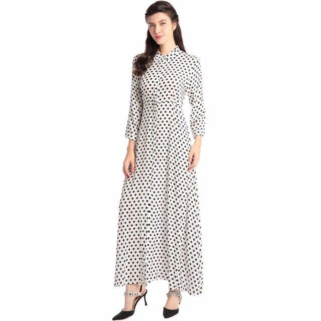 8fa3b0ebfd0 Стиль Бохо длинное платье женская рубашка с длинным рукавом платья в горошек  Винтаж черный платье макси