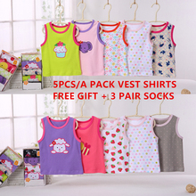 New 5pcs/Lot Infant Cotton Vest Shirt Summer Children Sleeveless Toddler Tops And Blouses Casual Unisex Baby Boy Girl Tee Shirts