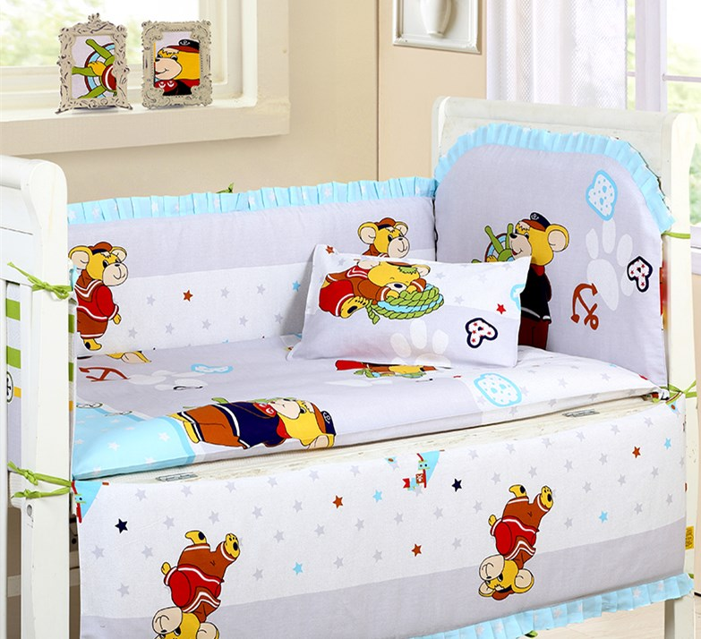 Promotion! 6PCS new arrived Cartoon Baby Bedding Crib Sets Cotton Bed Around All-inclusive Package (4bumper+sheet+pillow cover)